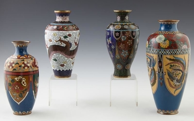 Group of Four Chinese Cloisonne Baluster Vases, 20th