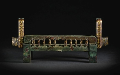 AN EXCEEDINGLY RARE SET OF GOLD AND SILVER-INLAID BRONZE FITTINGS WARRING STATES PERIOD - HAN DYNASTY