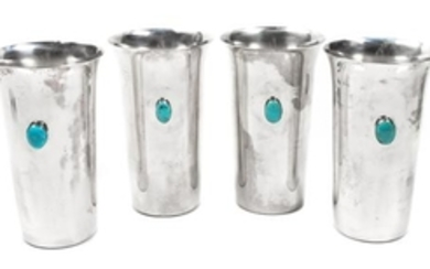 Four Silverplate and Turquoise Tumblers