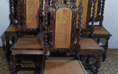 MATCHED SET OF 12 EUROPEAN OAK AND CANE CHAIRS