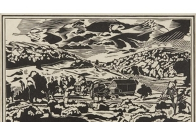 FISKE BOYD (american, 1895-1975) UNTITLED (LANDSCAPE) Pencil signed and...