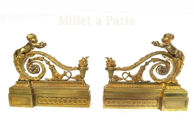 19th C. Pair of French Figural Chenets by Maison Millet