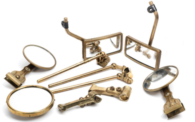 Assorted brass side mirrors and brackets,