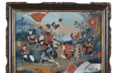 Chinese School 19th century Pair of Battle Scenes Reverse-painted...
