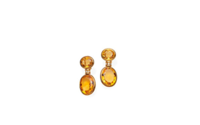 A pair of citrine and diamond drop earrings