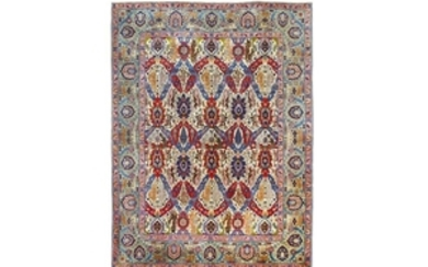 A FINE SIGNED DRAGON DESIGN TABRIZ CARPET, NORTH-WES