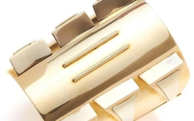 GOLD CUFF, FRENCH in high carat yellow gold, in