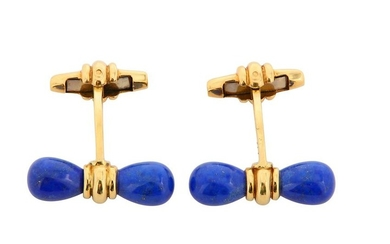 A pair of gold and lapis lazuli cufflinks, by Dunhill