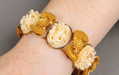 A mid to late 19th century gold ivory panel bracelet, each Cantonese carved to depict various scenes. With spare link.