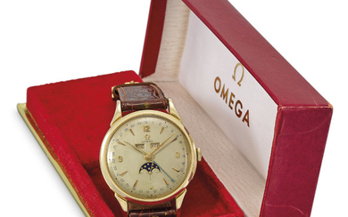 OMEGA. A LARGE GOLD-PLATED TRIPLE CALENDAR WRISTWATCH WITH MOON PHASES AND BOX, SIGNED OMEGA, REF. 2486-2, MOVEMENT NO. 13'385'474, CIRCA 1950