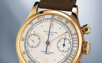 Patek Philippe, Ref. 1463 A rare, attractive and very well-preserved yellow gold chronograph wristwatch