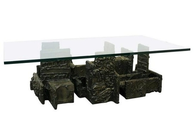 Paul Evans Brutalist Bronze & Glass Coffee Table