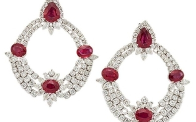 A pair of ruby and diamond earrings,...