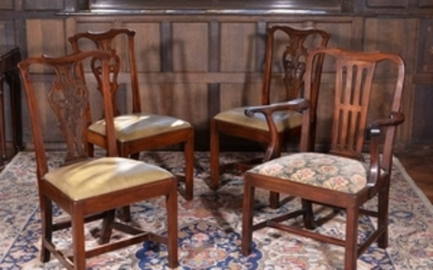 A set of three George II mahogany chairs