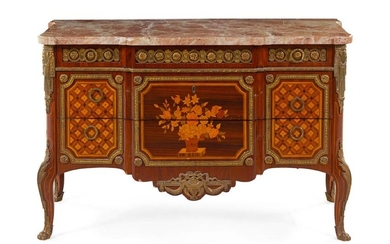 A Transitional Style Gilt Bronze Mounted Marquetry