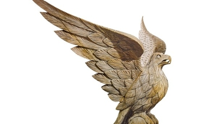 VERY FINE AND RARE CARVED PINE SPREAD WING AMERICAN EAGLE, JOHN HALEY BELLAMY (1836-1914),, KITTERY POINT, MAINE, CIRCA 1880