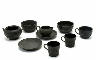 Wedgwood Pottery Basalt Tea Wares, Lot of Nine.
