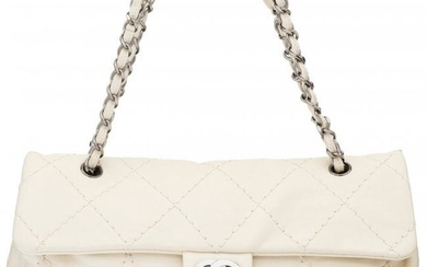 58051: Chanel Ivory Quilted Lambskin Leather Large Expa
