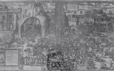 Bonifacio, Natale and Giovanni Guerra: The erection of the obelisk south from St. Peter's – Plate 1, Year 1586.
