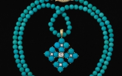 Ladies' Gold, Turquoise and Diamond Necklace