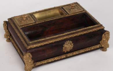 FRENCH ROSEWOOD AND GILT BRONZE REGENCY ENCRIER