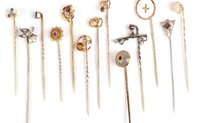 Thirteen Stick Pins; including a sapphire and seed pearl example...