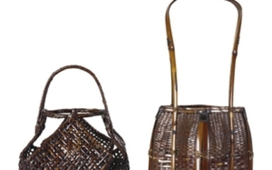 TWO BAMBOO AND RATTAN BASKETS THE SECOND SIGNED CHIKUSEISAI, 20TH CENTURY