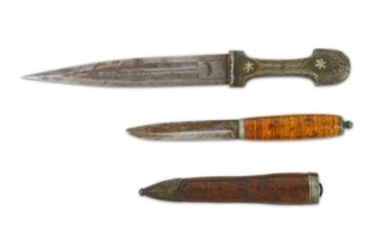 A WOOD-HILTED OTTOMAN FRUIT DAGGER AND A CAUCASIAN