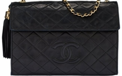 16052: Chanel Black Quilted Lambskin Leather Tassel Sho