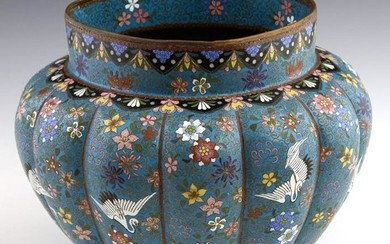 Chinese Cloisonne Jardienere, 20th c., of lobed form,
