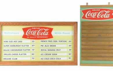 LOT OF 2: COCA-COLA ADVERTISING MENU BOARDS.