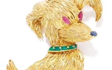 RUBY, SAPPHIRE AND ENAMEL NOVELTY DOG BROOCH in yellow