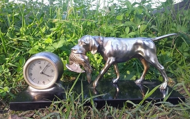 Tabletop clock - sconosciuto - Bronze (gilt/silvered/patinated/cold painted), slate - First half 20th century