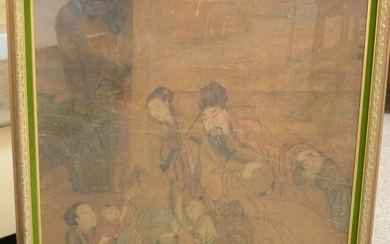 Chinese painting on silk, interior scene of family,