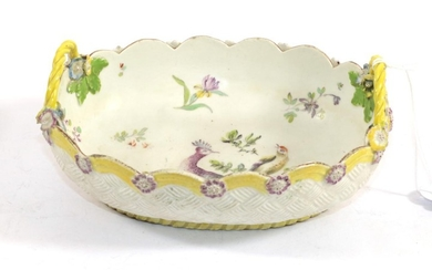 A Derby Porcelain Oval Basket, circa 1760, with twin handles,...