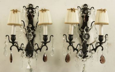 PAIR OF 2 LIGHT METAL AND CRYSTAL SCONCES
