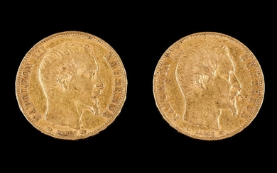 Two 20 francs coins Gold Napoleon III 1854 12,9 g