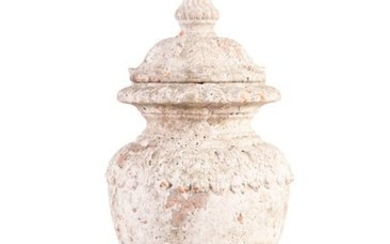 A 19TH CENTURY PAINTED TERRACOTTA CAST URN WITH LI…