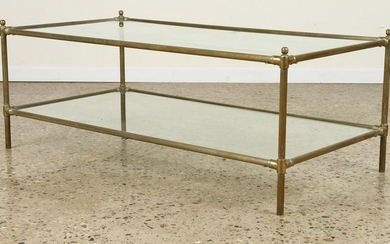 BRASS GLASS TWO TIER COFFEE TABLE C.1970