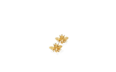 A pair of gold bee earrings,
