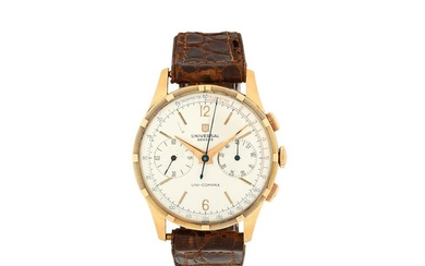 Universal Genève. An 18K rose gold manual wind chronograph wristwatch