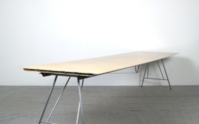 Large conference table in light build with aluminium composite board