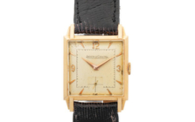 Jaeger-Lecoultre. An 18K gold manual wind square wristwatch