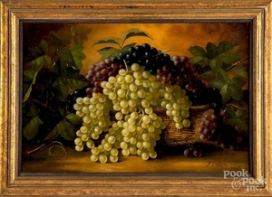 Oil on canvas still life with grapes