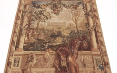 Very Fine French Pictorial Tapestry with View of Chateau de Monceaux