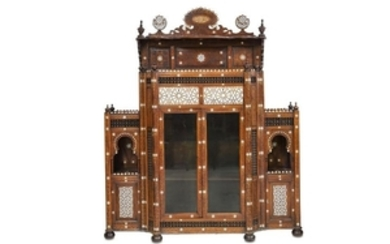 A MOTHER-OF-PEARL-INLAID WOODEN CUPBOARD Syria, late