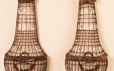 PR. OF FRENCH CRYSTAL BASKET FORMED WALL APPLIQUES