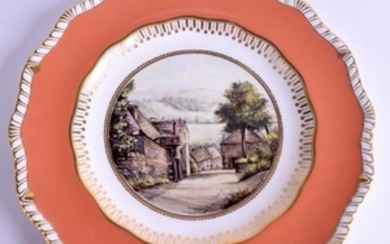 A ROYAL CROWN DERBY PLATE C1973 painted with a scene