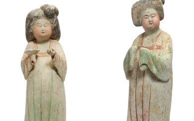 Two painted pottery figures of court ladies