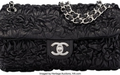 16053: Chanel Black Bubble Quilted Lambskin Leather Med